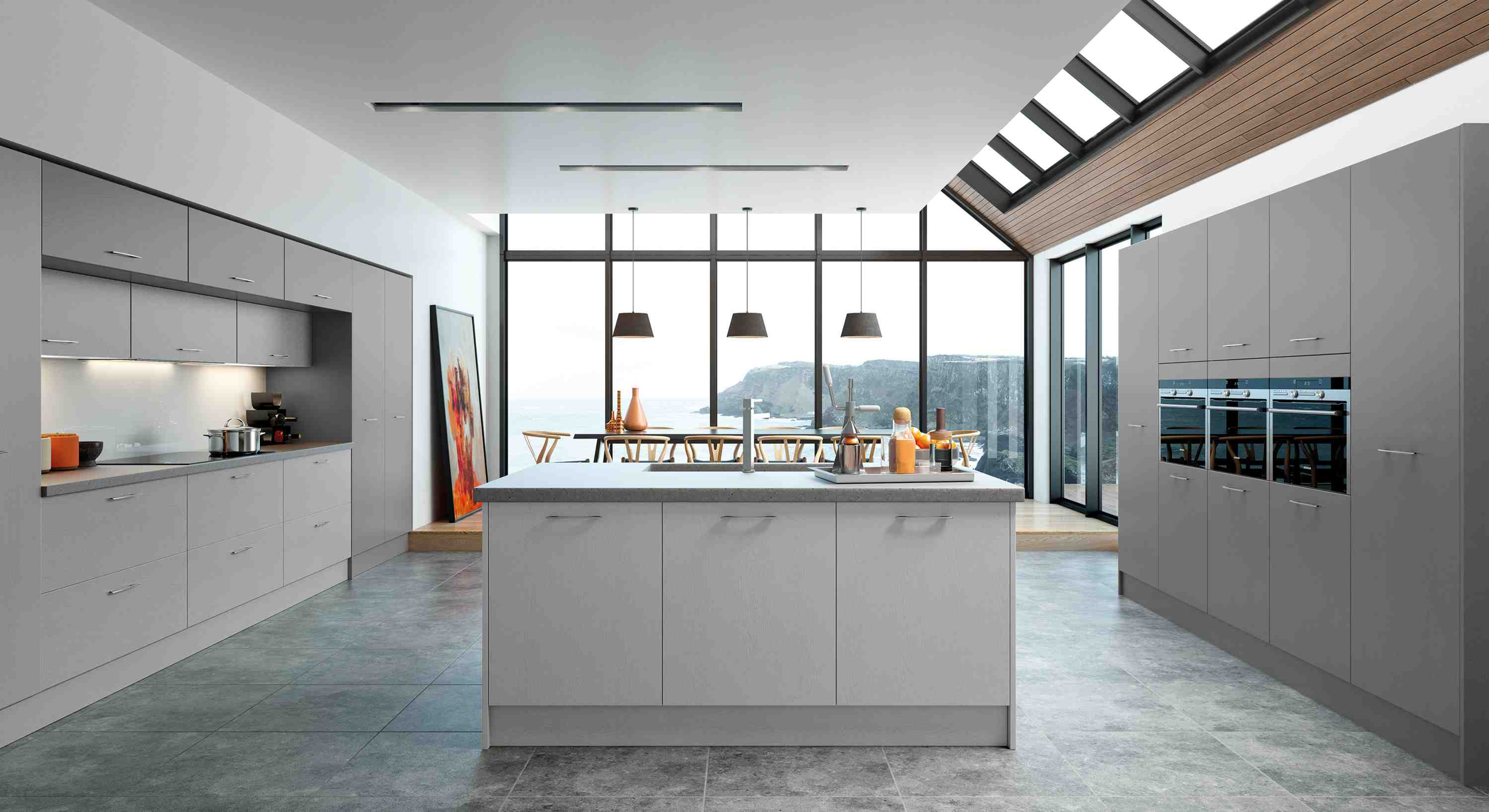mather is a vinyl cut and edged door that offers something different from standard slab kitchens, with it's real wood effect grained legno vinyl, creating a natural warmth.