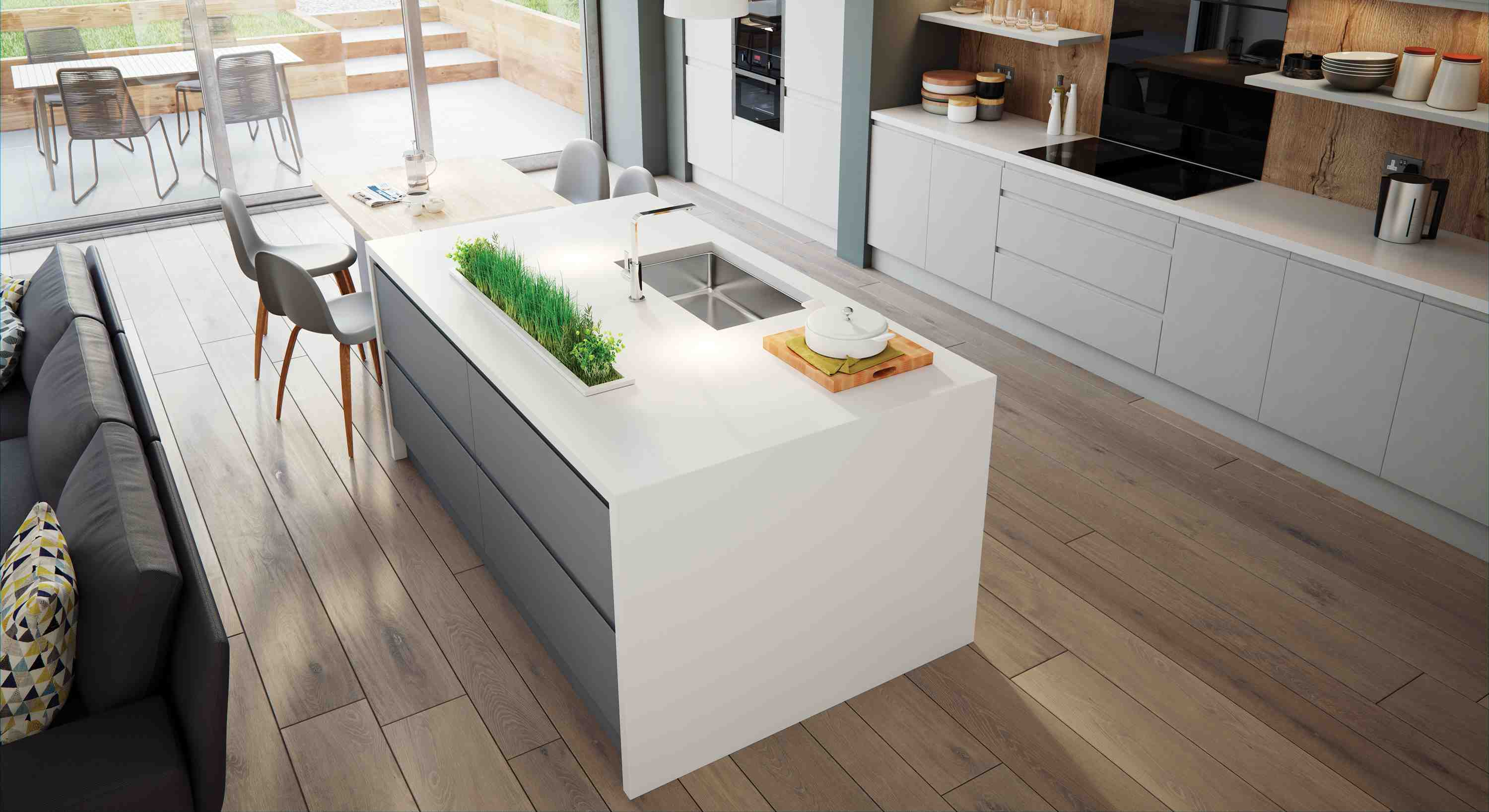 form with function biult in,arena is the stylish, yet practical choise for your kitchen deisgn. with its integrated handle and embossed real wood effect finish.